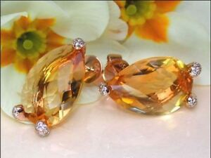 4Ct Pear Cut Yellow Citrine Diamond Solitaire Stud Earrings 14K Rose Gold Finish