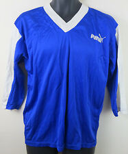 Vtg PUMA Football Shirt Retro Soccer Jersey Blue Trikot Maglia Mens S Small 2x3