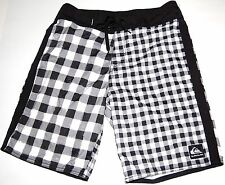 Men's QUIKSILVER Board Short Sz 30 Black Gingham Check Plaid Shorts Skate Surf