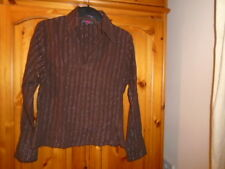 Brown striped long sleeve shirt style top, silver threads, FPC, size 12-14