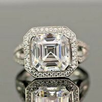 5.60ct White Asscher Cut White Diamond Impressive 925 Silver Engagement Ring