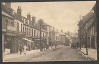 Postcard Christchurch near Bournemouth Dorset shops and tram in High Street 1915