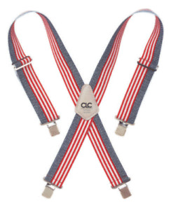 """CLC Custom Leathercraft Work Suspenders  2"""" Wide Patriotic Red, White and Blue"""