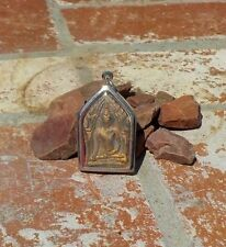HOLY BUDDHA CLAY AMULET ENCASED IN SILVER PENDANT FROM NEPAL WITH FREE SHIPPING