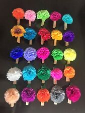Set Of 25 Mexican Clothespin Crepe Paper Flowers , Baby Shower, Party Decor. M