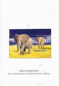 1995 Sierra Leone MNH Imperf Proof Animals Elephants Singapore Stamp Exhibition