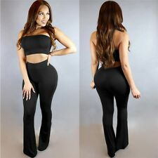 New 2Pcs Set Tie Dye Flared Trousers High Waist Wide Leg Long Pants Trousers