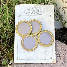 Antique Victorian Buttons On Card Large Lavender Gold Rim Mode Late 1800s