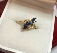 Vintage 14k Yellow Gold 1/2Ct Blue Sapphire Diamond Pave Wedding Cocktail Ring 8