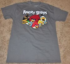 Men's gray short sleeve tee featuring the original angry Birds, size Small