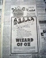 THE WIZARD OF OZ Judy Garland Opeing Day PREMIERE ADVERTISEMENT 1939 Newspaper