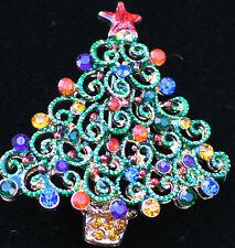 "GOLD TONE ENAMEL PURPLE BLUE RHINESTONES FAT CHRISTMAS TREE PIN BROOCH 1 3/4"""