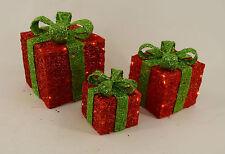 Dekobote, Sisal 3er Set Pakete LED beleuchtet Weihnachtsdeko BATTERIE Geschenke