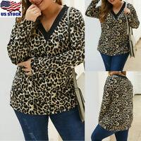 Women Leopard Print Long Sleeve V-neck Tunic Top Casual T-Shirt Blouse Plus Size