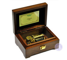 """Play """"Edelweiss"""" 30 Note Wooden Wind up Music Box With Sankyo Musical Movement"""