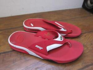 Reef red white thong flip flop mens Mick Fanning Bottle Opener 12 used