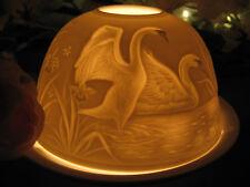 Porzellan Windlicht Schwäne Schwan Liebe Hochzeit See Orchideen Vögel Tiere