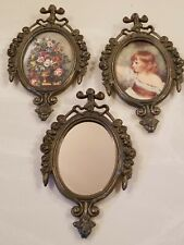 """NOS 3 Vintage Photo Frames Mirror Oval Flower ITALY Fit Oval Picture 2.25""""X 3"""""""