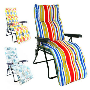 SUN LOUNGER LUXURY PADDED CUSHIONED RELAXER CHAIR OUTDOOR GARDEN PATIO FURNITURE