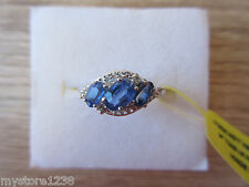 Himalayan Kyanite & White Topaz Ring Platinum Over Sterling Silver Sz 6, 7 Opt