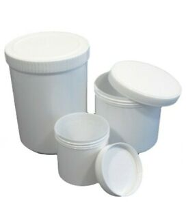 Plastic Screw Jar Tubs White Containers  100ml /200ml / 500ml/1L / 2L