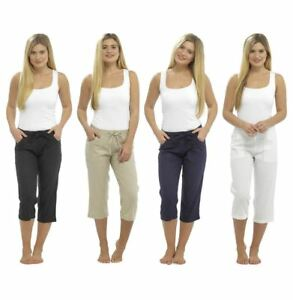 Ladies 3/4 Cropped Linen Trousers, Elasticated Waist Pants, Size 10-20, LN563