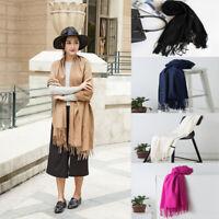 Women Lady Winter Warm Pashmina Cashmere Scarf Knit Long Wrap Solid Plain Shawl