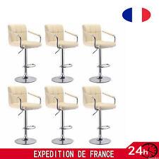 6*tabourets de bar chaise fauteuil américain pivotant Kitchen en cuir beige