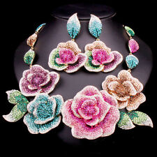 GLAMOROUS RUNWAY DESIGNER MASSIVE CRYSTAL FLOWERS NECKLACE+EARRINGS COUTURE SET