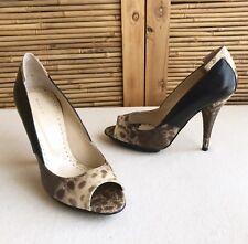 'ROBERT ROBERT' Black/Tan SNAKE Leather PEEPTOE Stiletto HEELS Shoes SIZE 37.5