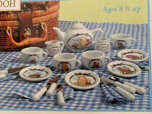 Disney CLASSIC WINNIE the POOH Schylling 12 Piece China Tea Set - NEW w/basket