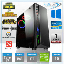 Extreme Quad Core i7 Gaming PC Computer Tower 16GB RAM 1TB GTX 1650 4GB Win 10