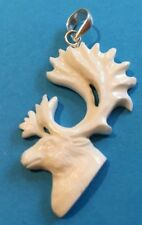 HANDMADE CARVED BUFFALO BONE CARIBOU HEAD PENDANT