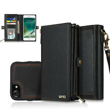 RFID Anti-theft Genuine Leather Wallet Case For Apple iPhone X with Wrist Strap