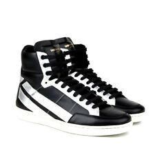 4a9c9e10398 S-2232120 New Saint Laurent Wolly Black High-top Sneakers Shoes US 8.5 /