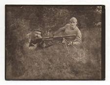 Photo MILITAIRE SOLDAT Guerre 14-18 Fusil Mitraillette Arme Régiment 104 Vintage