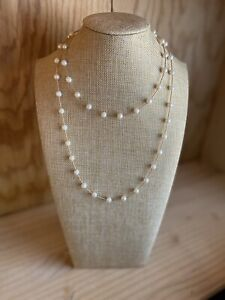 """7.5-8.0mm AAA Akoya Pearl 14K Gold 38"""" Station Necklace"""