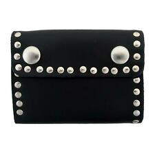 Men's Wallet Black Genuine Leather Biker Chain Trifold w/ Riveted Studs USA