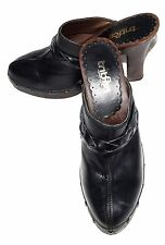 Kenneth Cole TRIBECA Swing Music Black Leather Studded Clogs Wood Heels Size 9 M