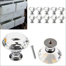 12pcs Crystal Glass Door Knobs Cupboard Drawer Cabinet Kitchen Handle Pull Knobs