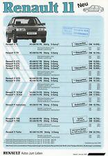 Renault 11 Preisliste 1987 1/87 price list prijslijst le tarif prisliste