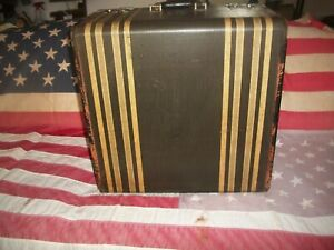 "*RARE*Antique Striped MOD-O-PLANE Suitcase/Steamer For Shoes 18""x18""x12""~ESTATE"