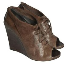 "SAM EDELMAN ""WAKEFIELD"" BROWN LEATHER WEDGE SUMMER BOOTIES UK 6 / EU 39 / US 8M"