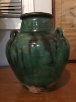 ANTIQUE CHINESE GREEN CRACKLED GLAZE  VASE PERFECT