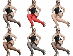 Bella Plus Size Sheer Lace Top Thigh High Stockings Hosiery Women 7 Colors