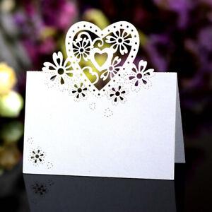 Neu 1/20/50/100 Platzkarten Namenkarte Tischkarte Hochzeit Taufe Geburtstag Deko