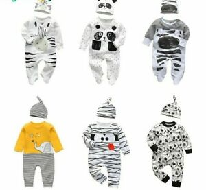 Newborn Baby Boys Clothes Set Infant Outfits Long Sleeve Clothing Jumpsuit Hat