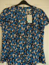 BODEN CAREY TOP SILK MIX BOLD BLUE CLEMATIS UK 10 EUR 36-38, US 6. BNWT MISLABEL