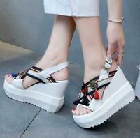 Women Metal Decor Fringe Peep Toe Wedge High Heel Platform Sandals Shoes Creeper