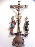 Spanish Colonial wood carved Santos Crucifix Jesus & Saints John & Mary Museum